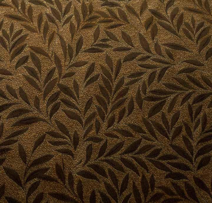 100 Silk Jacquard Fabric Gold Leaves