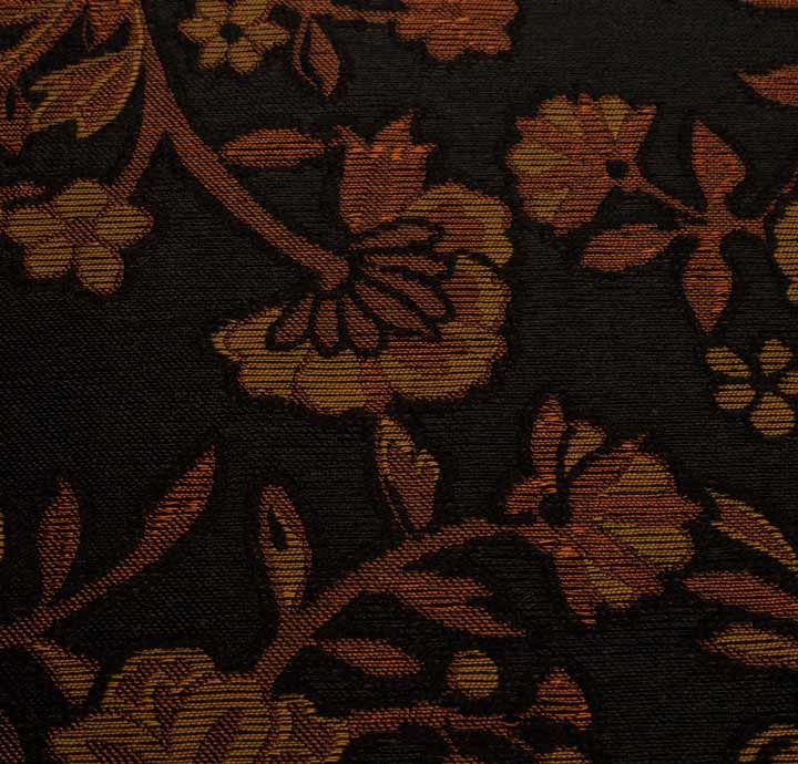 Silk Blend Tapestry Fabric Brown Floral