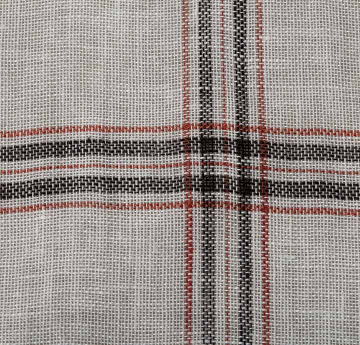 100 Linen Fabric Large White Check