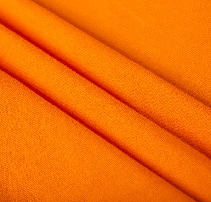 cotton elastane jersey orange fabric